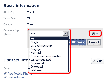 FACEBOOK setup basic and contact informations