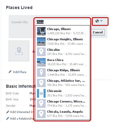 Facebook places lived 2